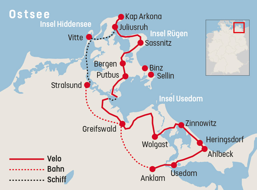 Karte Rügen.Veloreise 3 Inseln Rügen Hiddensee Und Usedom Railtour Der