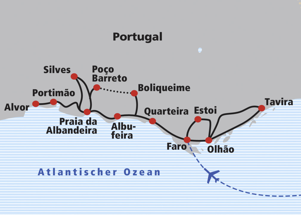 Flughafen Algarve Karte.Veloreise Algarve Railtour Der Schweizer Reisespezialist