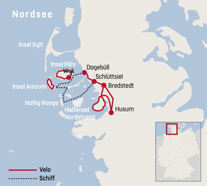 Nordfriesische Inseln Karte.Veloreise Nordfriesland Railtour Der Schweizer