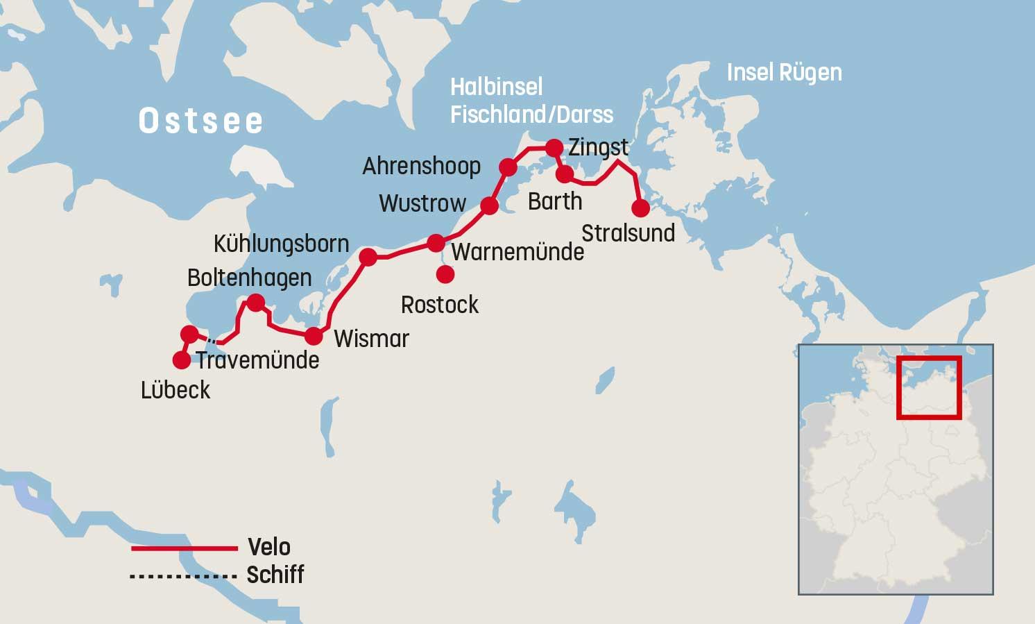Stralsund Karte.Veloreise Ostsee Radweg Lübeck Stralsund Railtour Der
