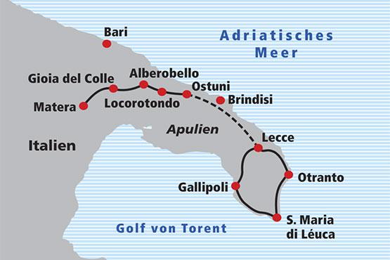 Apulien Karte Italien.Veloreise Apulien Railtour Der Schweizer Reisespezialist